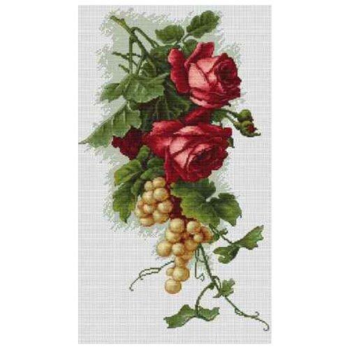 Фото - Luca-S Набор для вышивания Красные розы с виноградом, 20 х 33 см, B2229 luca s набор для вышивания щенок 8 х 10 см b088