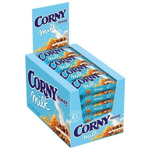 Фото - Злаковый батончик Corny Milk с молоком и медом, 24 шт злаковый батончик corny big cranberry с клюквой 24 шт