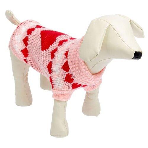 Свитер для собак Пижон размер 12 розовый с сердечками