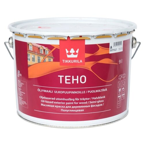 Краска масляная Tikkurila Teho Oljumaali полуглянцевая белый 9 л 1 (A/BW) краска интерьерная tikkurila joker a 9 л