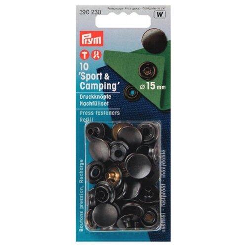 Prym Кнопки непришивные Спорт и кемпинг (390230), черный, 15 мм, 10 шт.