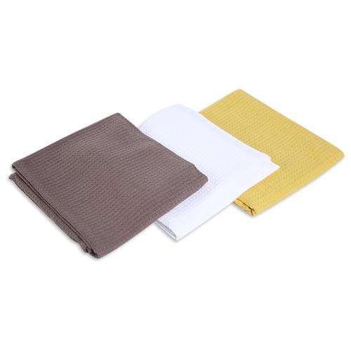 хозяйственные товары dosh home набор полотенец atira 6 шт Набор полотенец, DOSH   HOME, ATIRA, коричневый, белый, желтый, 3шт Желтый, белый, коричневый