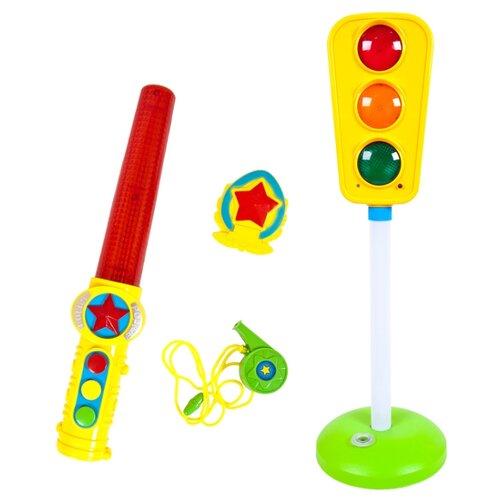 zhorya бубен zy286784 желтый зеленый Развивающая игрушка Zhorya Потеша Светофорчик желтый/зеленый/белый