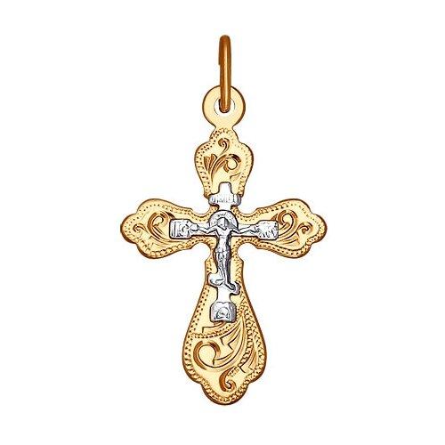 SOKOLOV Крест из комбинированного золота с гравировкой 121216