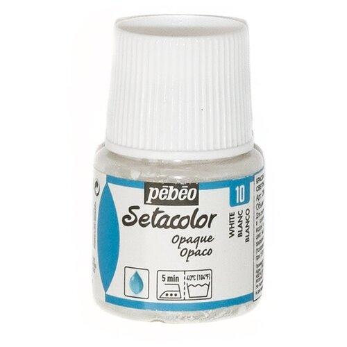 Pebeo Краска для темных и светлых тканей Setacolor 45 мл 10 белый pebeo краска акриловая acrylic paint матовая цвет 097820 мышиный 59 мл