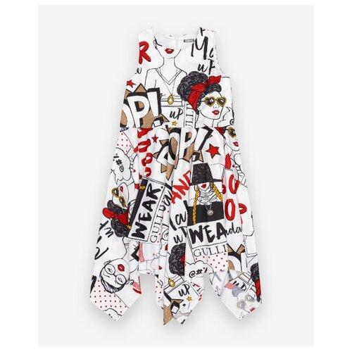 Платье Gulliver размер 140, белый/принт платье oodji ultra цвет красный белый 14001071 13 46148 4512s размер xs 42 170