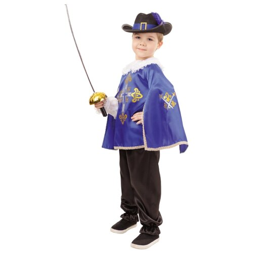 Купить Костюм Батик Мушкетер синий (2031 к-18), синий/черный, размер 140-72, Карнавальные костюмы