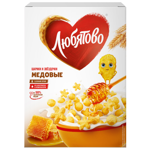 Готовый завтрак Любятово Медовые шарики и звёздочки, коробка, 200 г