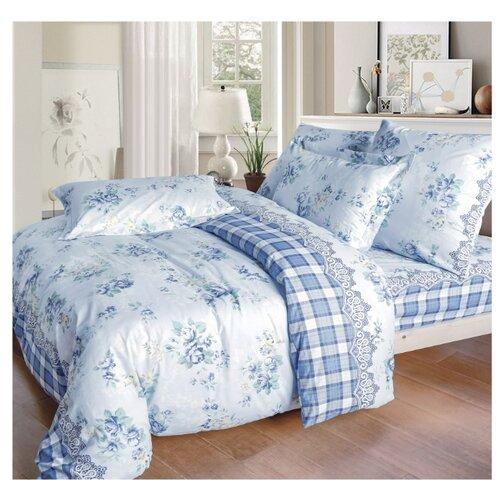 Постельное белье семейное СайлиД A-172, поплин голубой кпб семейное голубой попугай сирень постельное белье с рисунком