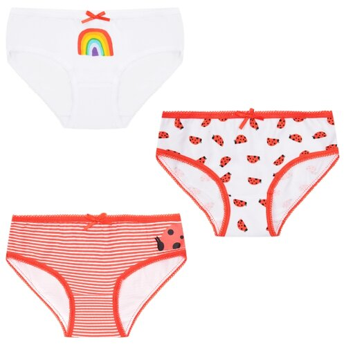 Купить Трусики Leader Kids 3 шт., размер 122-128, белый/красный, Белье и купальники