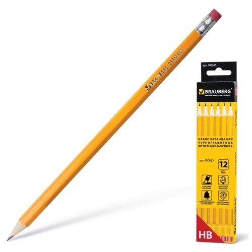 Купить BRAUBERG Набор чернографитных карандашей 12 штук (180635), Карандаши