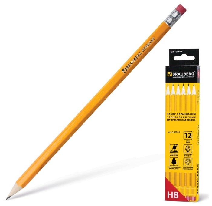 BRAUBERG Набор чернографитных карандашей 12 штук (180635)