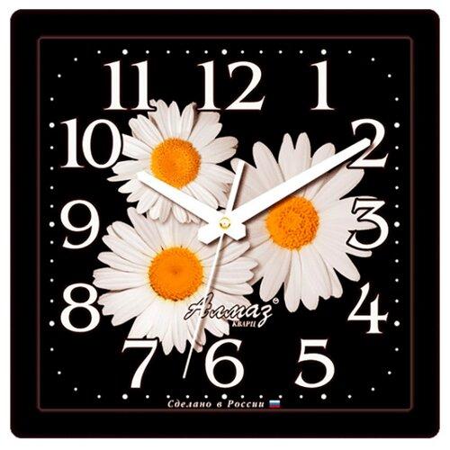 Часы настенные кварцевые Алмаз K44 черный/белый часы настенные кварцевые алмаз h01 белый черный