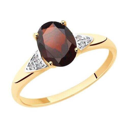 Diamant Кольцо из золота с гранатом и фианитами 51-310-00216-2, размер 17 diamant кольцо из золота с гранатом 51 310 00182 2 размер 17