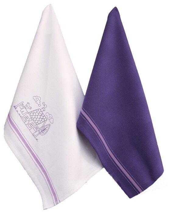 Allegro Набор вафельных полотенец КАНТРИ кухонное 45х60 см белый/фиолетовый