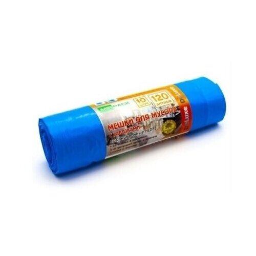 Мешки для мусора MirPack Deluxe высокопрочные с завязками 120 л, 10 шт., синий