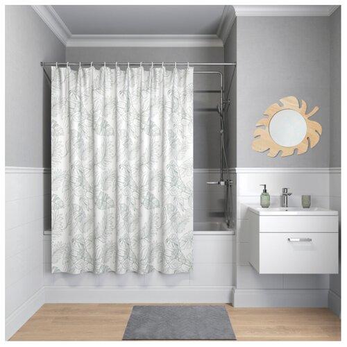 Штора для ванной IDDIS B48P218i11 180х200 белый/зеленый