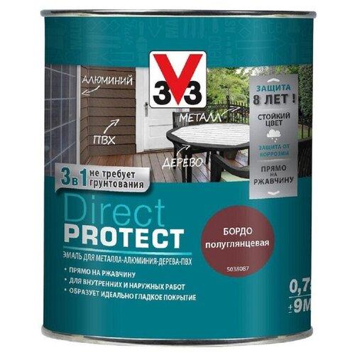 Эмаль алкидная (А) V33 Direct Protect 1138 бордо 0.75 л