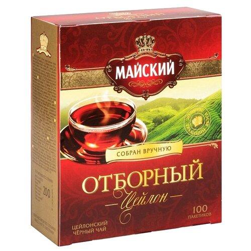 Чай черный Майский Отборный в пакетиках, 100 шт. майский чайная матрешка синяя черный листовой чай 30 г