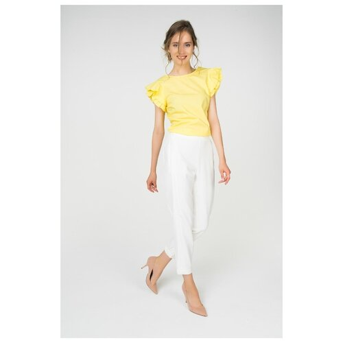 Брюки Zarina, размер 42(XS), белый платье oodji ultra цвет красный белый 14001071 13 46148 4512s размер xs 42 170