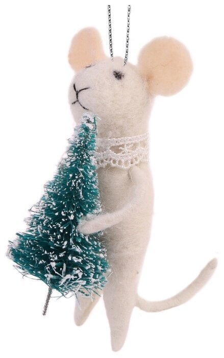 """Украшение елочное """"Мышка с елочкой"""", 5x10x11,5 см"""