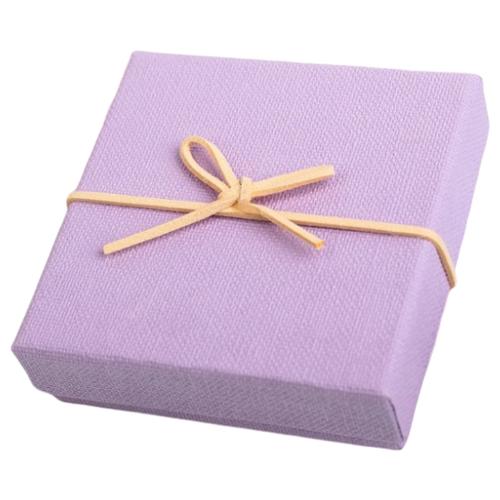 Коробка подарочная Yiwu Zhousima Crafts с бантом 10 х 3 х 10 см сиреневый