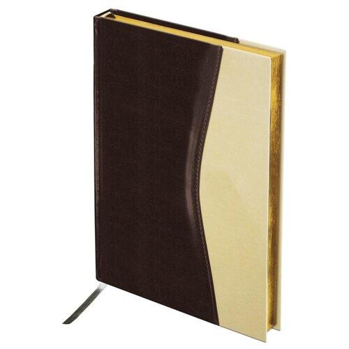 Ежедневник BRAUBERG De Luxe недатированный, искусственная кожа, А5, 160 листов, коричневый/бежевый ежедневник brauberg cayman недатированный искусственная кожа а5 160 листов черный темно коричневый