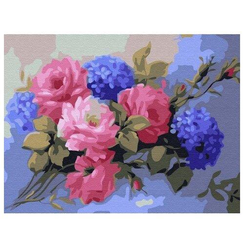 Купить Molly Картина по номерам Гортензии с розами 15х20 см (KH0766), Картины по номерам и контурам