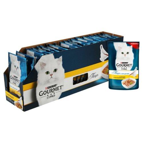 Корм для кошек Gourmet Перл соус де-люкс с курицей 24шт. х 85 г (кусочки в соусе) корм для кошек gourmet перл с говядиной 24шт х 85 г кусочки в соусе