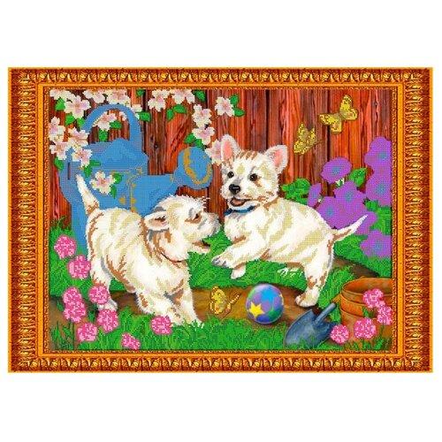 Светлица Набор для вышивания бисером Игривые щеночки 49,6 х 35,8 см, бисер Чехия (143)