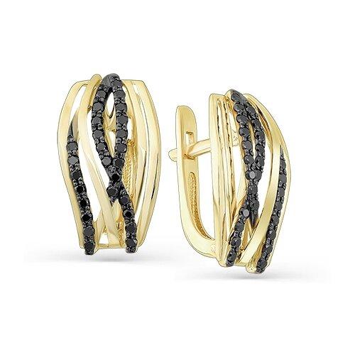 Мастер Бриллиант Золотые серьги с черным бриллиантом 2-107-286-48