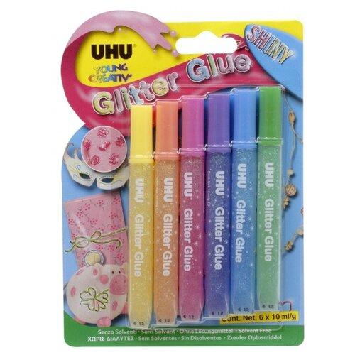 UHU Клеящие блестки для декорирования Young Creativ Glitter Glue Shiny (6 шт.) разноцветный клеящие блёстки uhu young creativ матовые 6 х10 мл