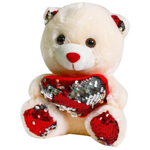 Мягкая игрушка Медведь с сердцем пайетки красный-серебро 4471228