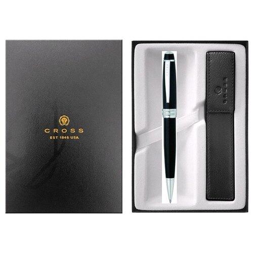 Подарочный набор Cross: шариковая ручка Cross. Bailey Black Lacquer с чехлом для ручки