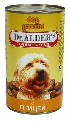 Корм для собак Dr. Alder`s ДОГ ГАРАНТ птица кусочки в желе Для взрослых собак (1.2 кг) 6 шт.