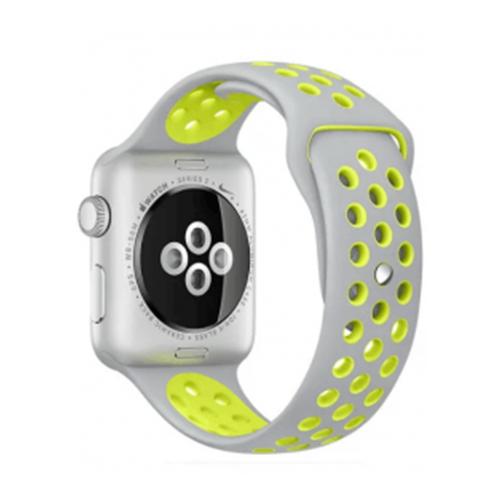 EVA Ремешок спортивный для Apple Watch 42/44mm серый/ желтый ремешок спортивный eva для apple watch 38mm белый желтый ava012wy
