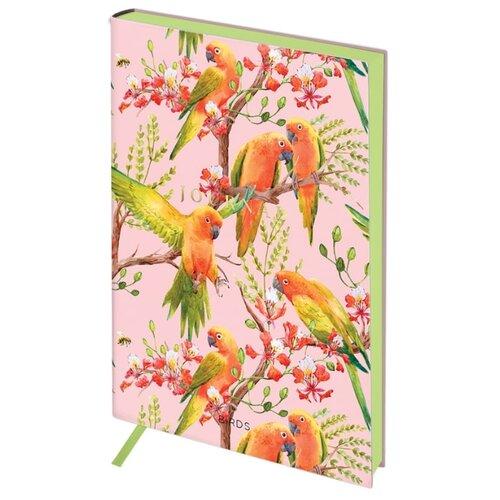 Ежедневник Greenwich Line Vision. Birds недатированный, искусственная кожа, А5, 136 листов, желтый/розовый
