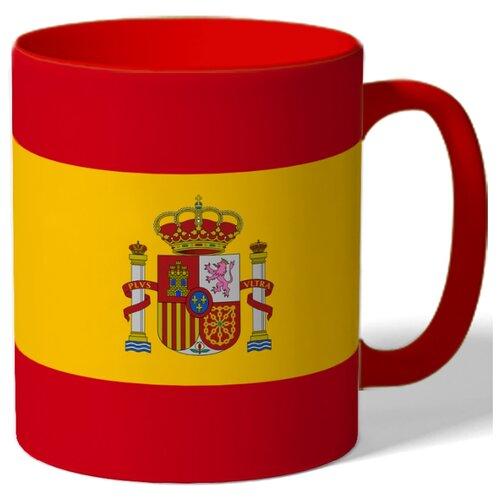 Кружка с цветной ручкой и ободком Испанский флаг