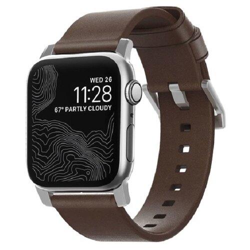 Ремешок Nomad Modern Strap для Apple Watch 40mm/38mm. Материал кожа натуральная. Цвет ремешок темно-коричневый, застежка серебристый. ремешок для смарт часов nomad traditional strap для apple watch 44mm 42mm коричневый