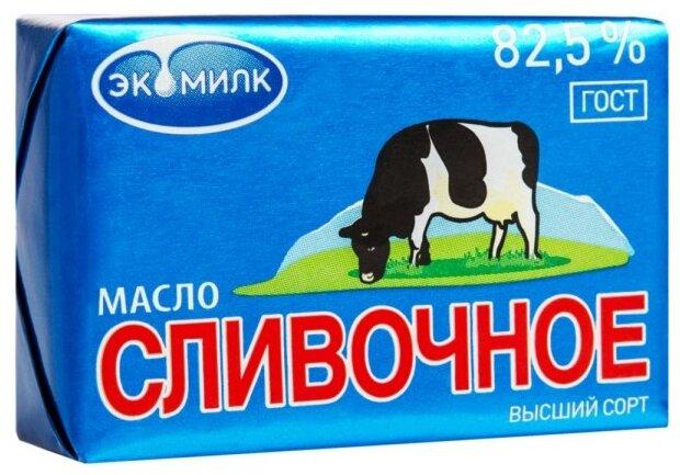 Экомилк Масло сливочное несоленое 82.5%, 100 г