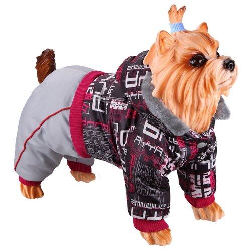 Комбинезон для собак DEZZIE 56356 мальчик, 20 см светло-серый/красный/черный