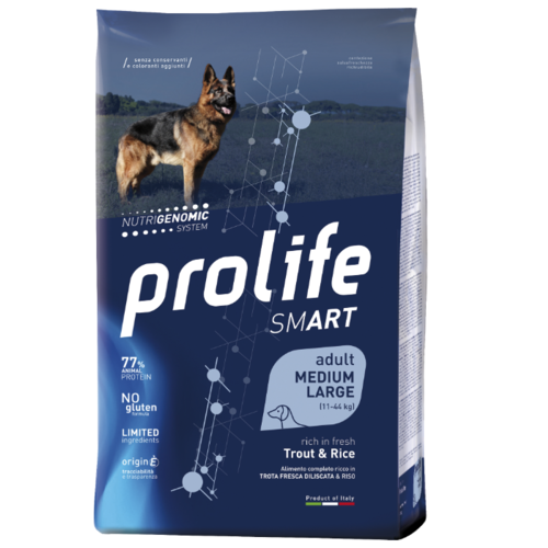 Сухой корм для собак Prolife Smart Medium/Large форель с рисом 2.5 кг сухой корм для собак prolife ягненок буйвол с рисом 20 кг