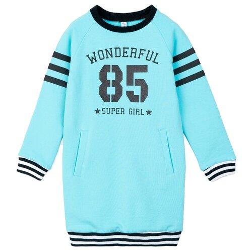 Платье playToday размер 110, голубой/белый/черный