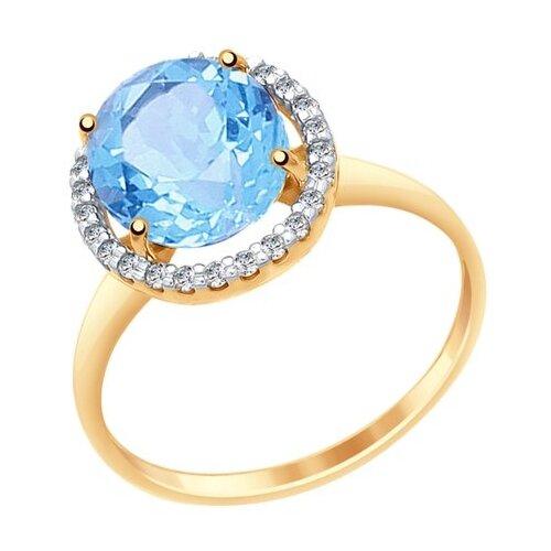 SOKOLOV Кольцо из золота с топазом и фианитами 714967, размер 17.5
