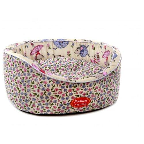 Лежак Родные места Премиум №1 Мышкины цветы (3428182) 43х38х15 см белый/голубой/розовый