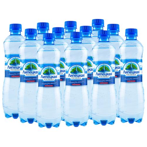 Вода минеральная природная питьевая лечебно-столовая Липецкая Росинка газированная, ПЭТ, 12 шт. по 0.5 л фото