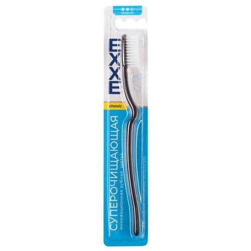 Зубная щетка EXXE classic Суперочищающая, средняя, черный