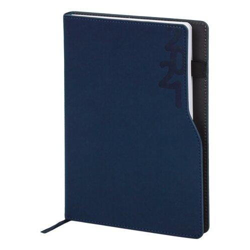 Купить Ежедневник BRAUBERG Up датированный на 2021 год, искусственная кожа, А5, 168 листов, синий, Ежедневники, записные книжки