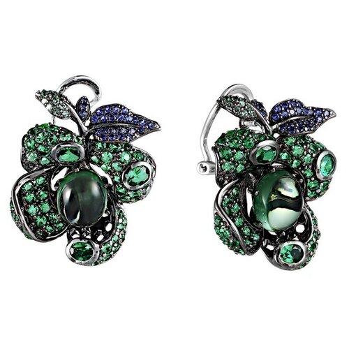 JV Серебряные серьги с кубическим цирконием, ювелирным стеклом 2ES0163001304-SR-001-WG