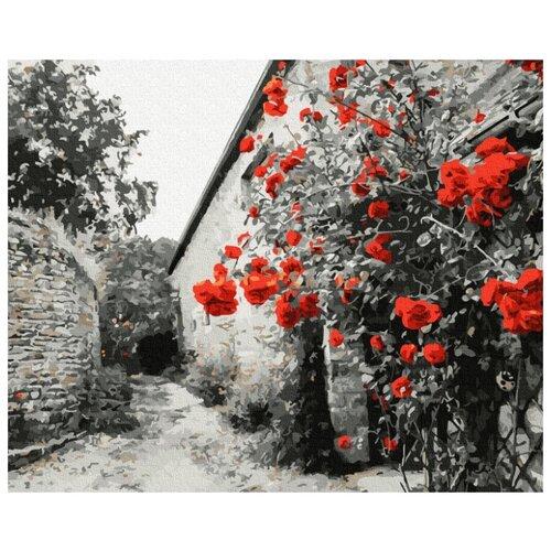 Купить Картина по номерам Molly 40х50 см Красные розы на каменной стене, Картины по номерам и контурам